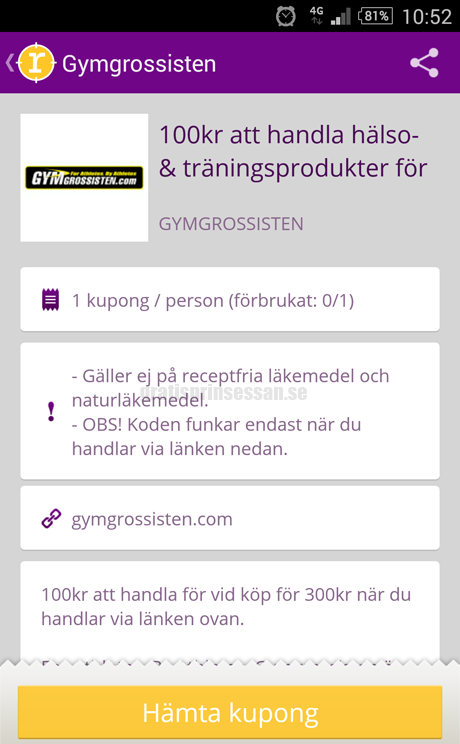 Rabattkod gymgrossisten 100 kr