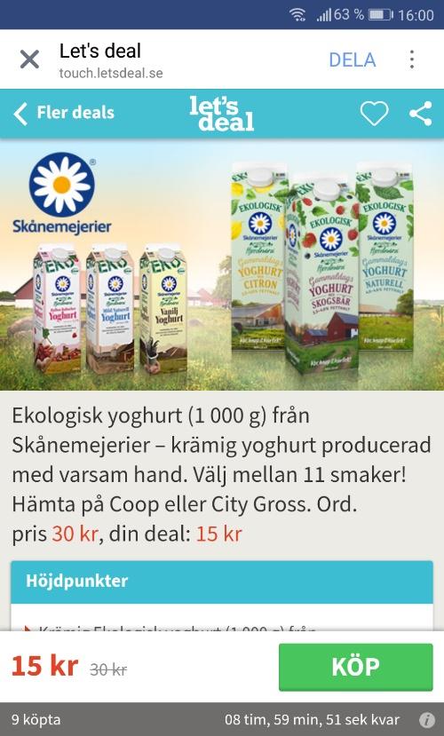 Ekologisk yoghurt från Skånemejerier