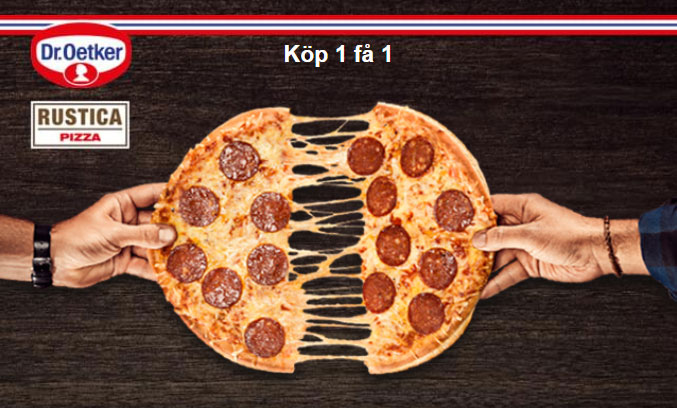 köp 1 pizza få 1 pizza