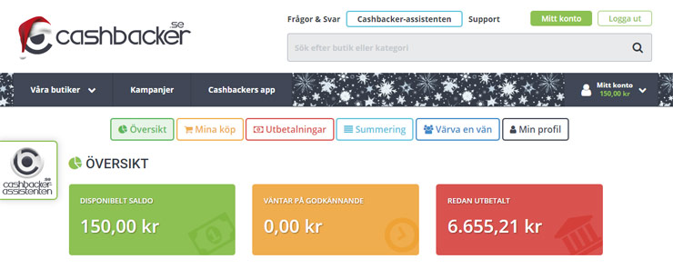 cashbacker utbetalning