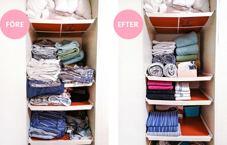 vecka 2 - rensa ut i linneskåpet