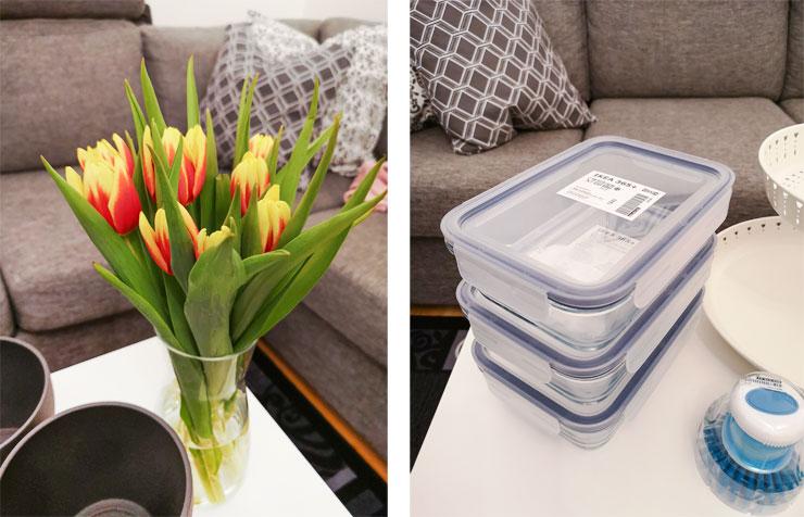 ikea tulpaner och matlådor i glas