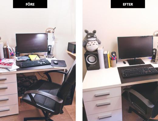 rensa skrivbordet - före och efter