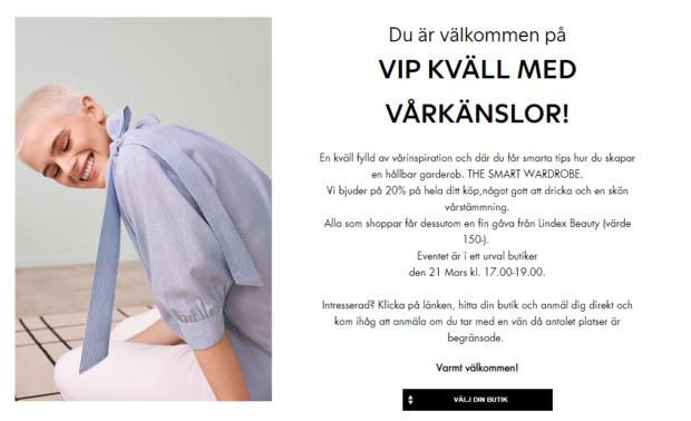 VIP-kväll i utvalda Lindex-butiker! 20% + gåva på köpet!