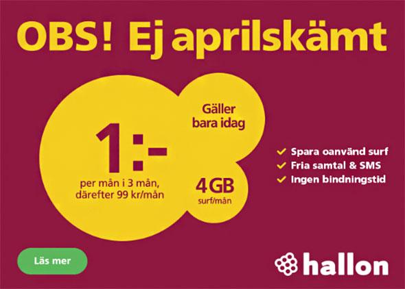 HALLON GRATIS 3 MÅNADER