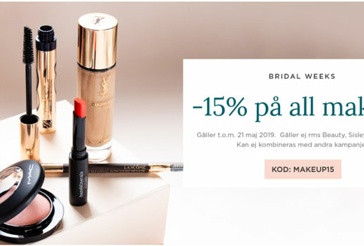15% rabatt på all makeup hos Eleven