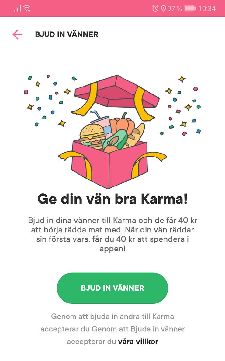 karma - bjud in vänner