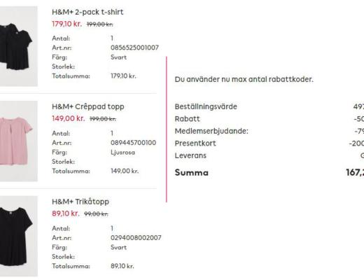 beställning från H&M med rabatter