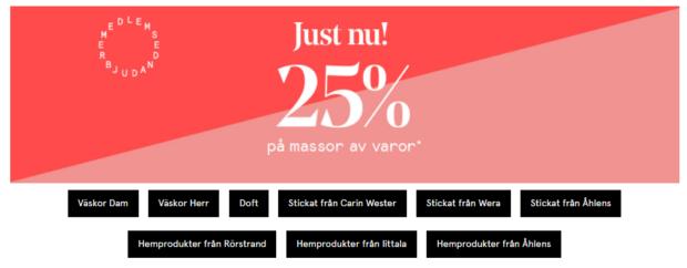 25% på massor av varor hos Åhléns!