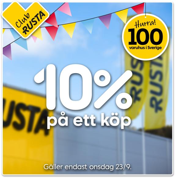 10% rabatt hos Rusta