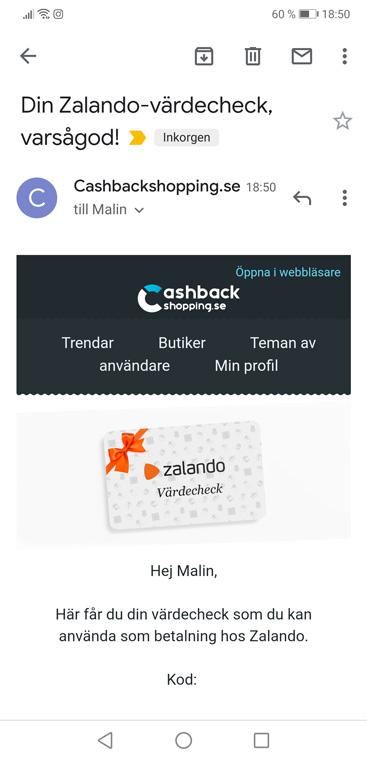 presentkort zalando - cashback