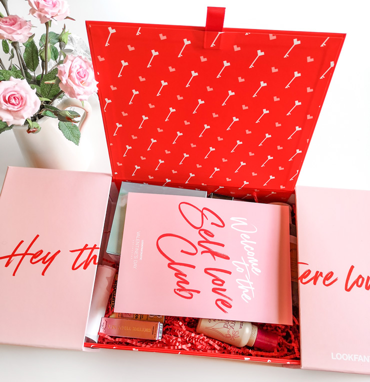 innehåll i unboxing LOOKFANTASTIC Valentine's Day Collection 2021